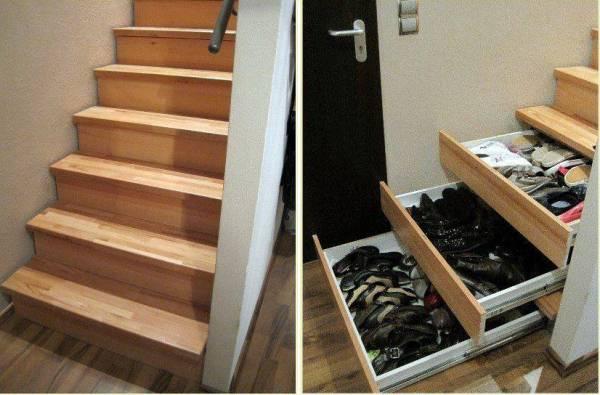хранение обуви под лестницей