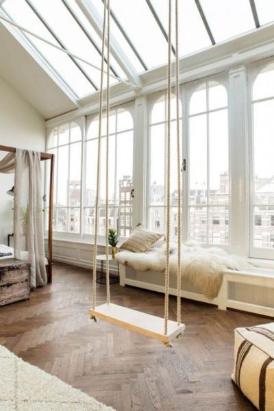 панорамные и мансардные окна в гостинной