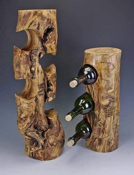 держатель для бутылок из бревен