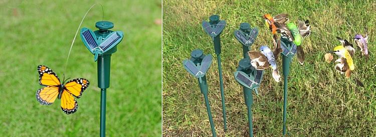 садовые украшения бабочки на солнечной батарее